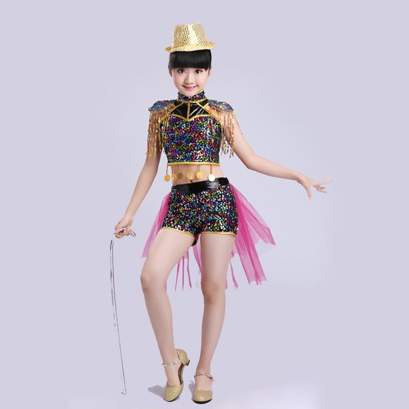 Trajes de baile de jazz para niños, trajes de baile con lentejuelas para niñas, trajes de escenario para cantantes, top + Pantalones cortos