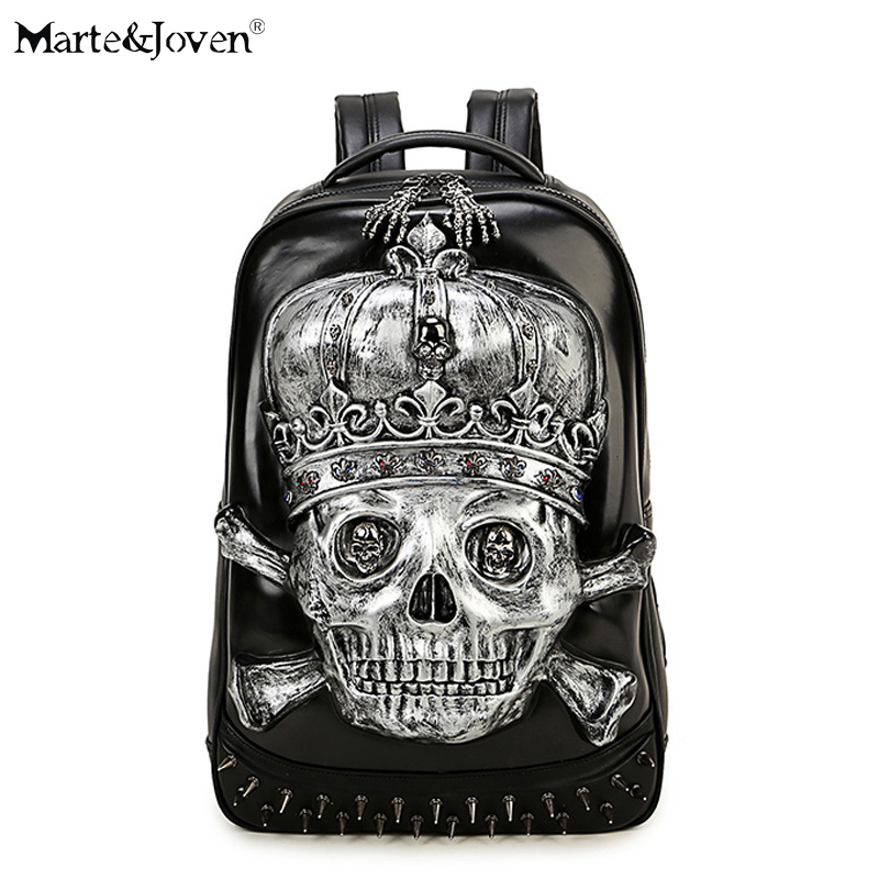 Vintage Punk Style 3D Skeleton Skull Backpack for Men Women High Quality PU Leather Black Rucksack Personalized Laptop Backpacks