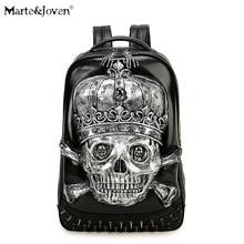Vintage Punk Style 3D Skeleton Skull Backpack for Men Women High Quality PU Leather Black Rucksack Personalized Laptop Backpacks
