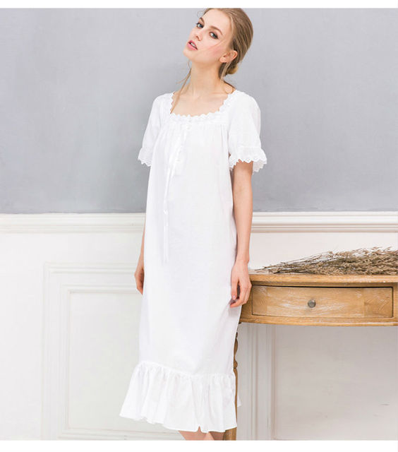 Long White Nightgown Summer Nightgowns For Women Ladies Nightgown Cotton Short Sleeve Nightie Night Dress Chemise De Nuit Femme