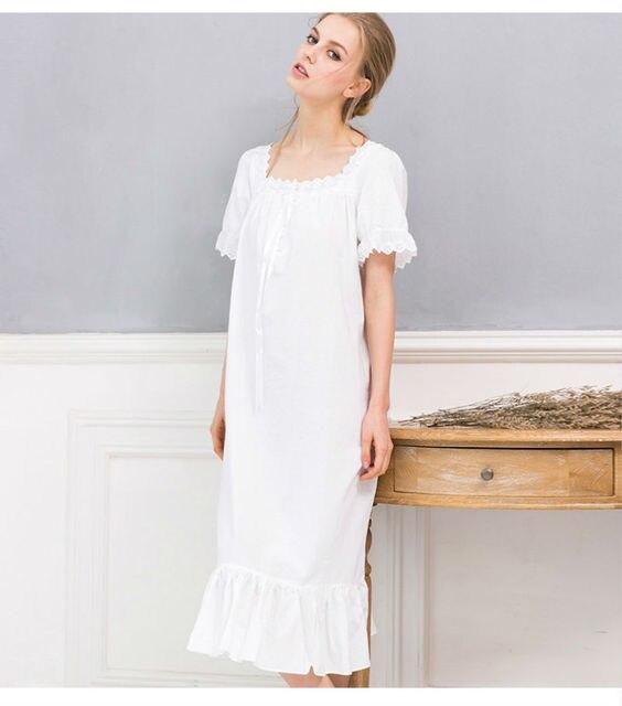32d289b93 Longo Branco Camisola Camisolas de Verão Para As Mulheres Senhoras Camisola  de Algodão de Manga Curta
