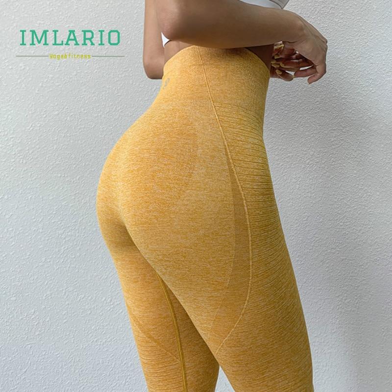 Imlario High Waist Energy Gym Running Capri Tights Seamless Yoga Cropped Pants Women Super Stretchy Workout Booty Leggings 3/4