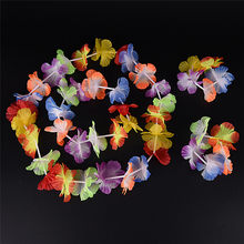Wholesale 4Pcs/Set Hot Sale Hawaiian Colorful Flower Garland Necklace for Beach Fancy Dress Wedding Party Beach Decoration(China)