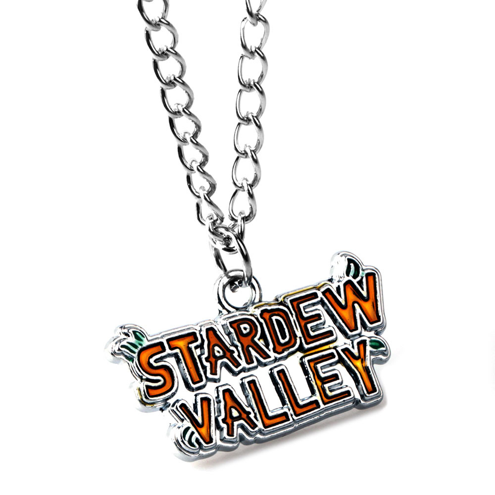 Game Stardew Valley Necklaces for Men Silver Link Chain Letter Pendant Necklace Male Neckless Women Jewelry Gift for Boys image