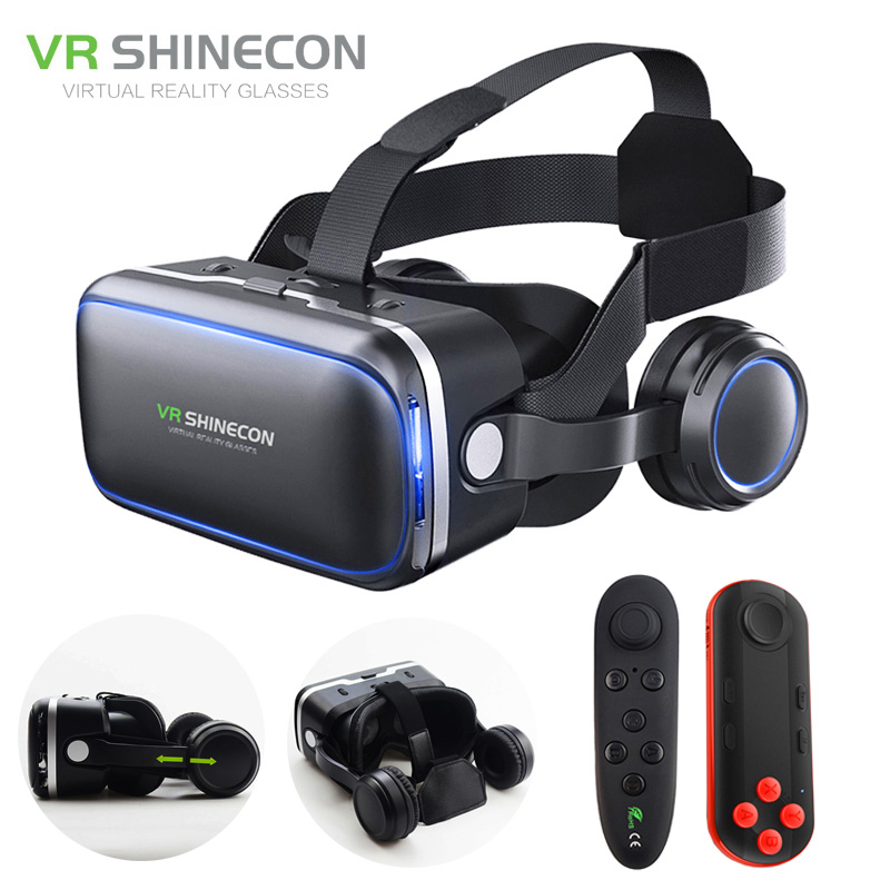 VR Headset Shinecon 6.0 Pro Stereo BOX Virtual Reality Smartphone 3D Glasses Google VR Headset with Controller for Android original vr virtual reality 3d glasses box stereo vr google cardboard headset helmet for ios android smartphone bluetooth rocker