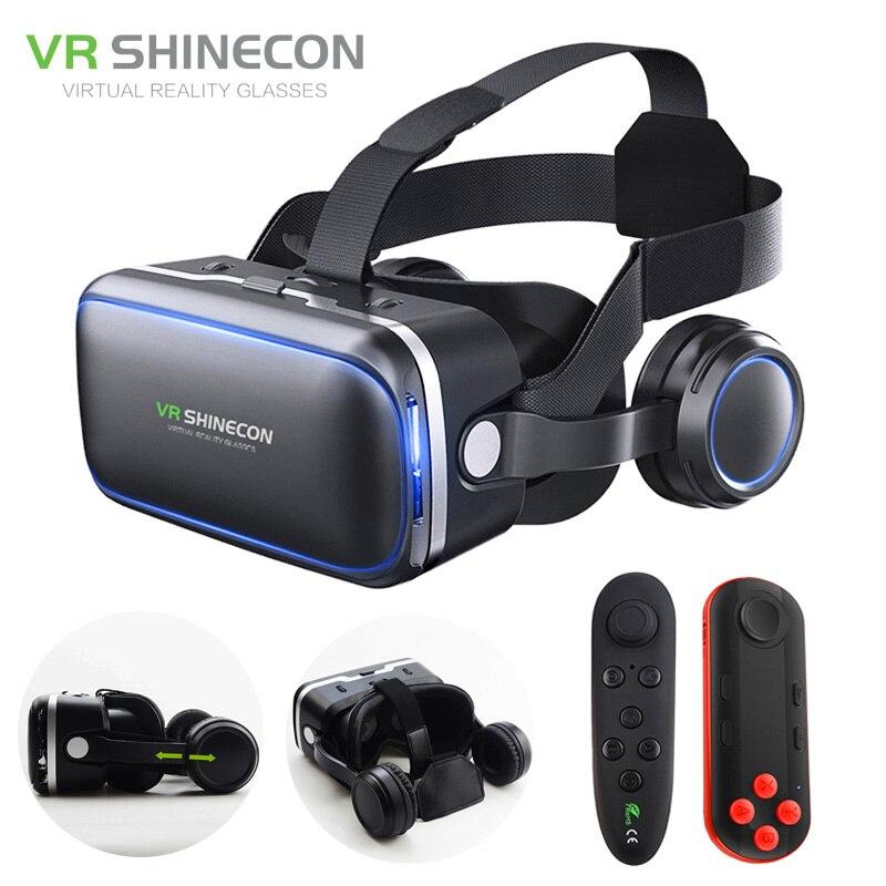 Vr гарнитура shinecon 6.0 Pro стерео виртуальной реальности смартфон 3D Очки Google Box VR гарнитура с контроллером для Android