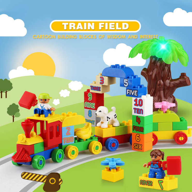 75PCS/66PCS Big Blocks Number Train Building Set Compatible with Legoed Duploe Educational Toys DIY Baby Toys Building bricks 26pcs highway bridge blocks set large train railway building blocks kids diy toys compatible with duploe children gift