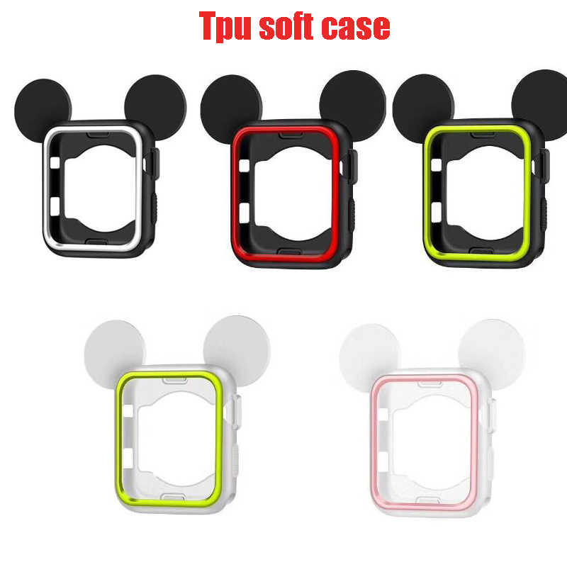 Sport Silicone Cover Frame Soft Rubber Full Protective mickey Case For Apple Watch Nike + cover For iwatch 3/2/1 38mm 42MM
