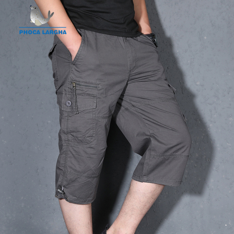 New Cargo Shorts Men Summer Casual Multi-pocket Shorts Masculino Men Overall Military Solid Short Trousers Plus Size S 5XL