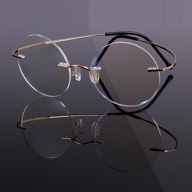 7fe4581e68b Agstum 46mm Pure Titanium Vintage Round Flexible Rimless Eyeglass Frame  Clear Lens Rx