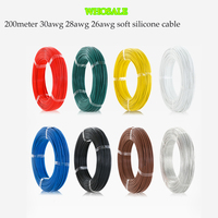 Whosale 200 meter 30AWG 28awg 26awg Flexible Silicone Wire RC Cable/Soft Silicone Cable wire for FPV Racing Drone kit