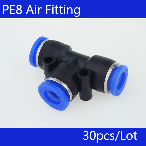 PE8 Free shipping 30Pcs Pneumatic 8mm to 8mm T Shaped Quick Fitting Connector free shipping 30pcs peg 10mm 8mm pneumatic unequal union tee quick fitting connector reducing coupler peg10 8