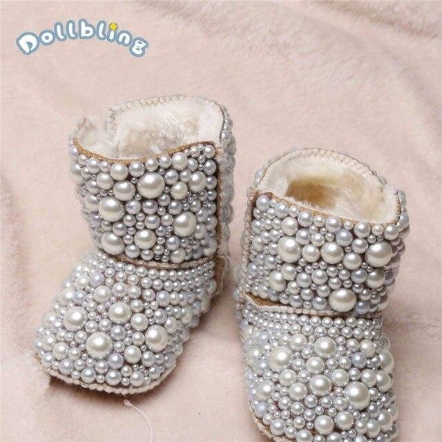 Dollbling Botas de perlas personalizadas para bebé, botas de perlas personalizadas hechas a mano de lujo para bebé, abalorios de marfil para invierno