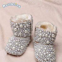 Newborn Baby Custom Plus Velvet Warm Boots Infant Cotton Luxury Shining Pearl Decoration Boots Shoes For Autumn Winter