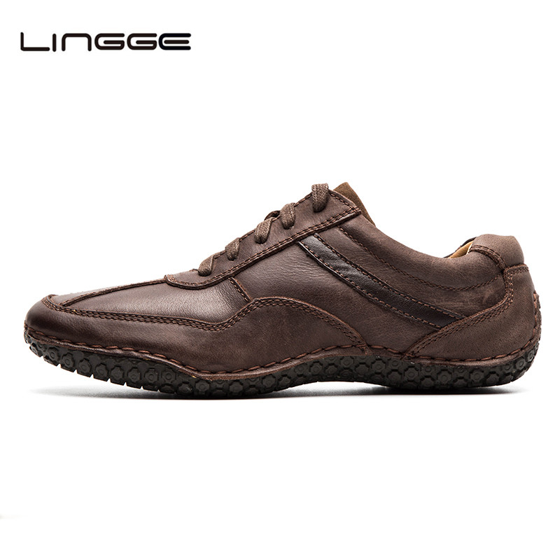 LINGGE Mens Formal Shoes Leather Business Official Shoes Handmade Top Quality Oxfords Brown Leather Flats Men Casual Shoe #530-8