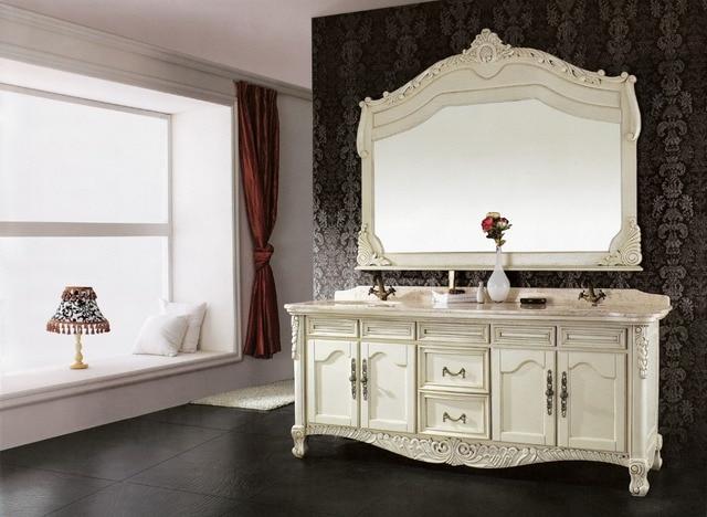 Meuble de salle de bain en bois massif, meuble lavabo avec miroir ...
