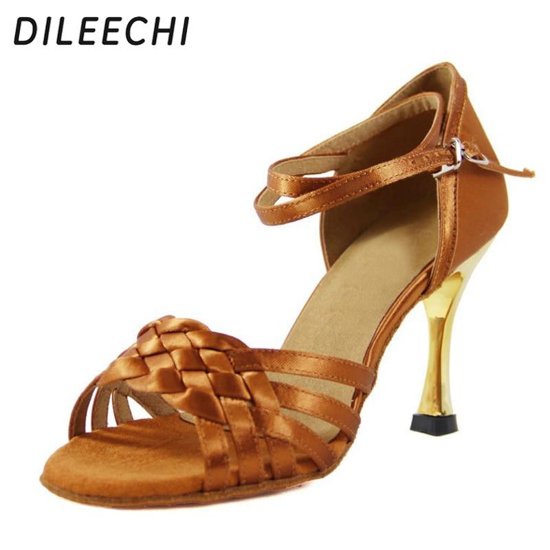 DILEECHI Upscale style Imported black satin Latin dance shoes Gold plating heel 8 5CM Salsa Samba