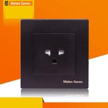 все цены на Wall Power Plug Switch Socket Outlet US Standard Eletrical Socket Panel Grounded 16A 86*86mm Type Fashion Matte Black 110-250V онлайн