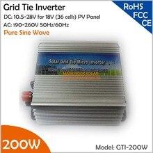 200 W Grille Cravate Micro Onduleur, 10.5-28 V DC Approprié pour 18 V Panneau Solaire ou Éolienne avec CE, ROHS, FCC approuvé