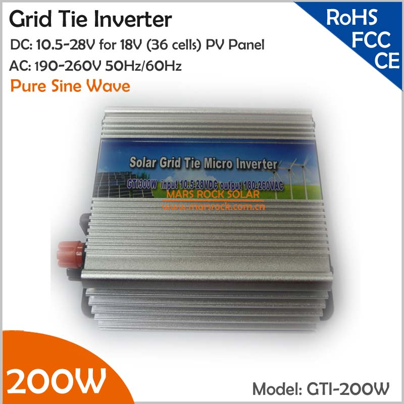 ФОТО 200W Grid Tie Micro Inverter, 10.5-28VDC 190-260VAC Suitable for 18V Solar Panel or Wind Turbine with CE, ROHS, FCC approved