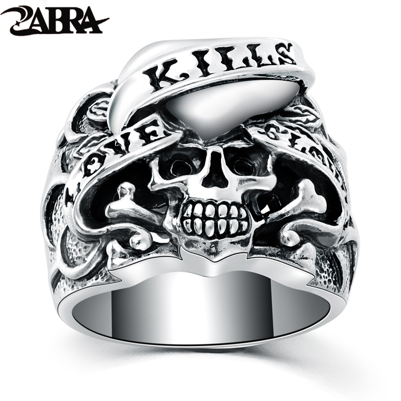 ZABRA 925 Silver Vintage Gothic Skull Ring Man Rings Heart Signet Retro Style Warcraft Big Biker