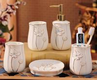 5 pcs Simple household ceramic bathroom suite series home decoration beauty home gargle set
