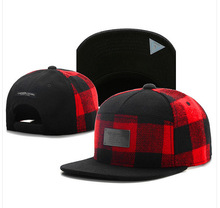New Brand C&S BL PLATED CAP red black grid wool snapback hat for men women adult sports hip hop street outdoor sun baseball cap