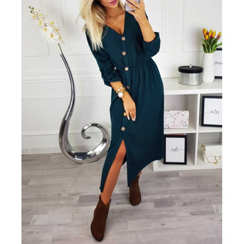 Autumn Winter Button Front Split Long Dress 2018 Women Solid Long Sleeve  Casual Loose Dress Girl 21b55af43fde