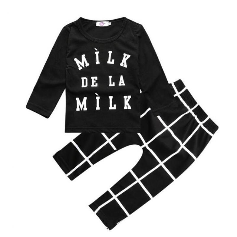 Hot Sale 2018 Fashion baby clothing baby boy clothes black Short T Shirt & Long Pants 2pcs bebe baby boy newborn clothing set baby boy clothes monkey cotton t shirt plaid outwear casual pants newborn boy clothes baby clothing set