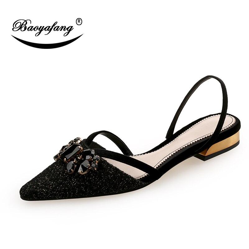 Baoyafang Noir Femme Femmes Cristal Plat Nouveau Escarpins 2018 Chaussures Automne Mode Bout Pointu qOqUxCw