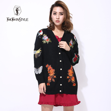 [TWOTWINSTYLE] 2017 Autumn Tiger Flowers Embroidery Knitted Coat Women Jackets New knitwear