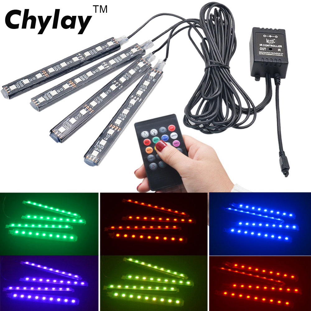 Voiture RGB LED bande lumière voiture style décoratif Automobile atmosphère lampes voiture intérieur lumière sans fil télécommande/commande vocale