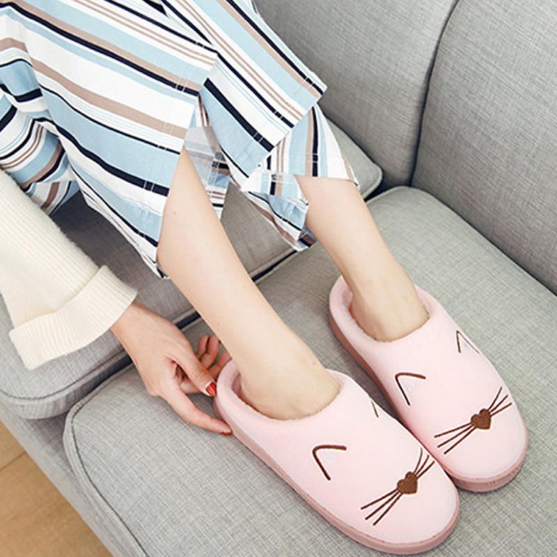 Cute Women Winter Home Slippers Indoor Bedroom Loves Couple Shoes Cartoon Cat Home Shoes Soft Warm Slippers Pink #12 цена