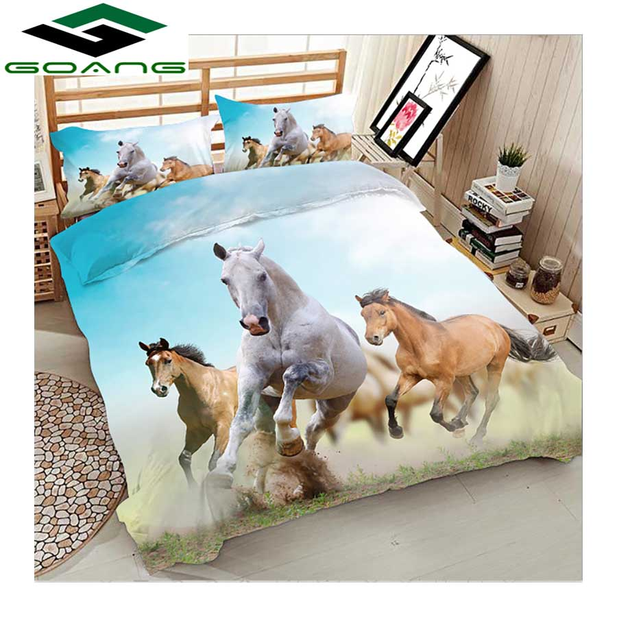 GOANG Luxury Bedding Set 3d Digital Printing Horses Running Bed Sheet Duvet Cover Pillow Case 3pcs Queen Bedding Set HomeTextile