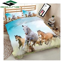 GOANG luxury bedding set 3d digital printing horses running bed sheet duvet cover pillow case 3pcs queen HomeTextile