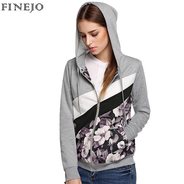 Finejo Autumn Spring Women Cotton Patchwork Hoodies Sweatshirt Zip-up Hoodie Outerwear Coat Plus Size M-3XL Hooded Jacket
