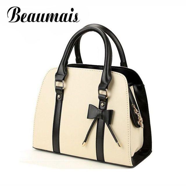Beaumais 2017 hot sale 7 colors fashion women leather handbags with bowknot vintage bag ladies women shoulder bag bolsas MW001