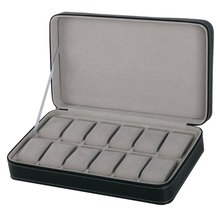 2/6/10/12 Girds Leather/Carbon Fiber Watch Box Jewelry Stora