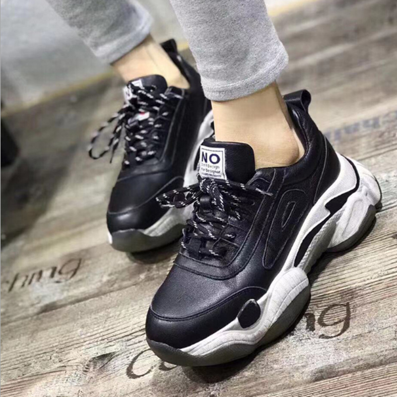 Casual color matching retro small dirty shoes Spring autumn new hot selling leather platform Comfortable women