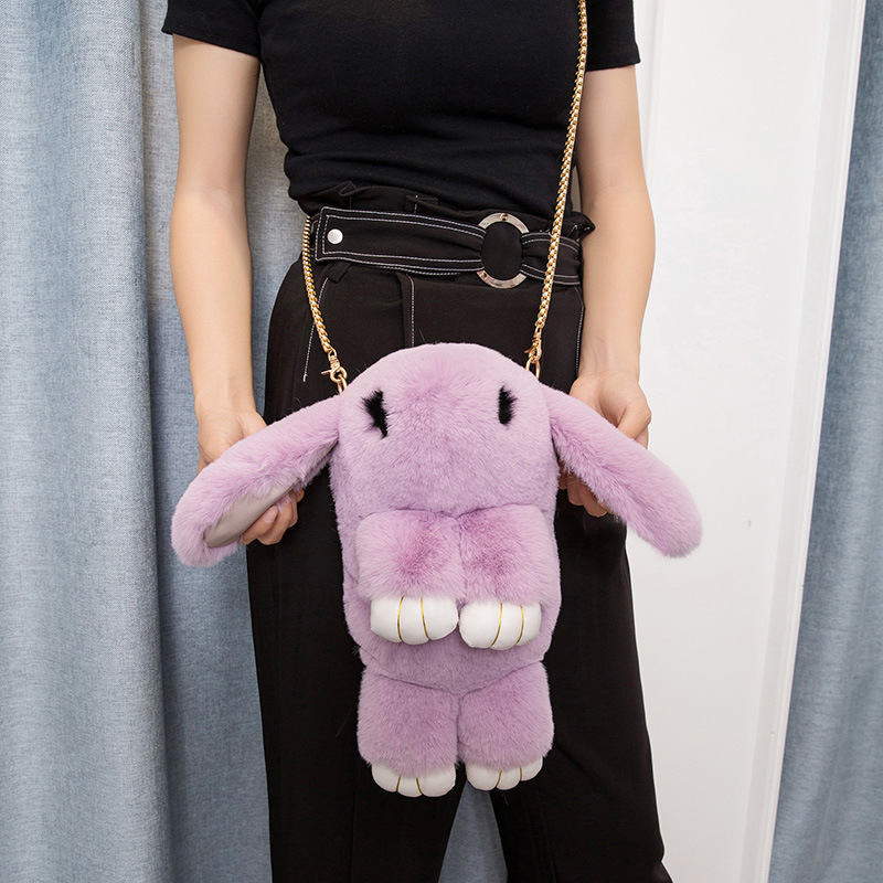 (LONSUN)Cute Multifunction Rabbit Fur Leather Chain New Diagonal Shoulder Bag Children Cross-Body Messanger Plush Backpacks