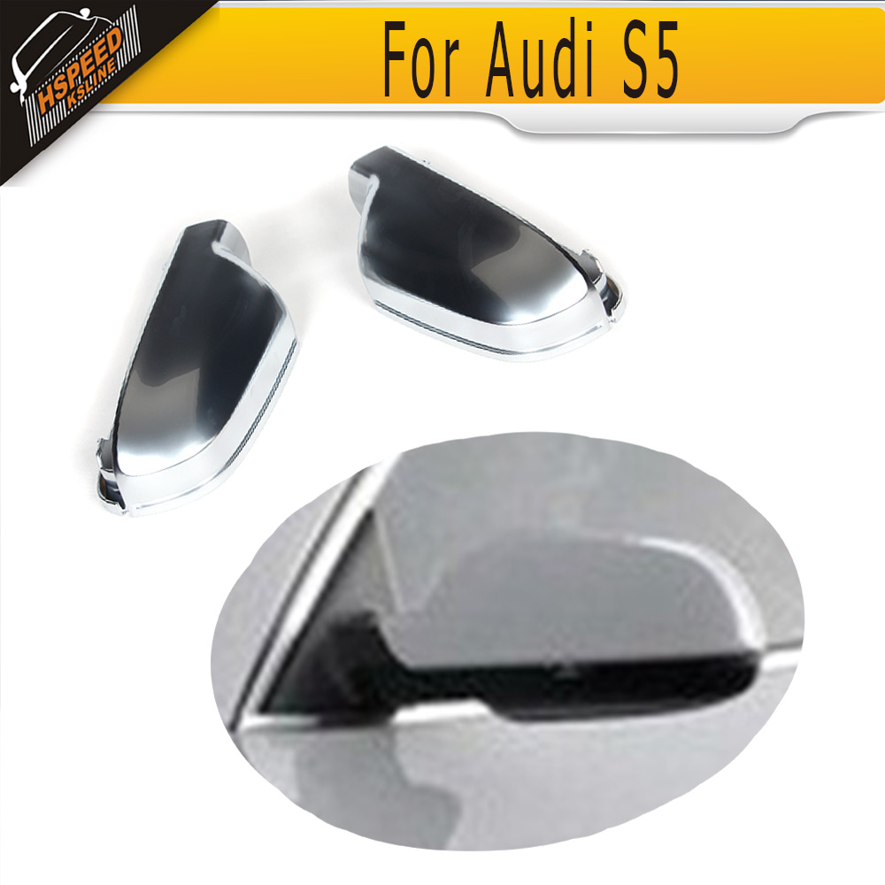 S5 Style Replace Auto car side mirror Housings covers caps for Audi  A4 A5 2010 2011 2012 2013 2014 2015 ABS 2 black and tan checkered seat covers for a 2010 to 2013 chevrolet equinox side airbag friendly