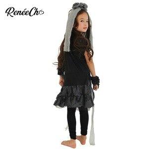 Image 2 - Trajes de halloween para crianças vestidos de fantasia meninas esqueleto traje da noiva criança ossos traje menina fantasma preto vampiro cosplay