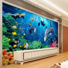 Custom wallpapers 3D stereo underwater world of sea fish living room childrens TV 3d background wall paper Decorative paintings
