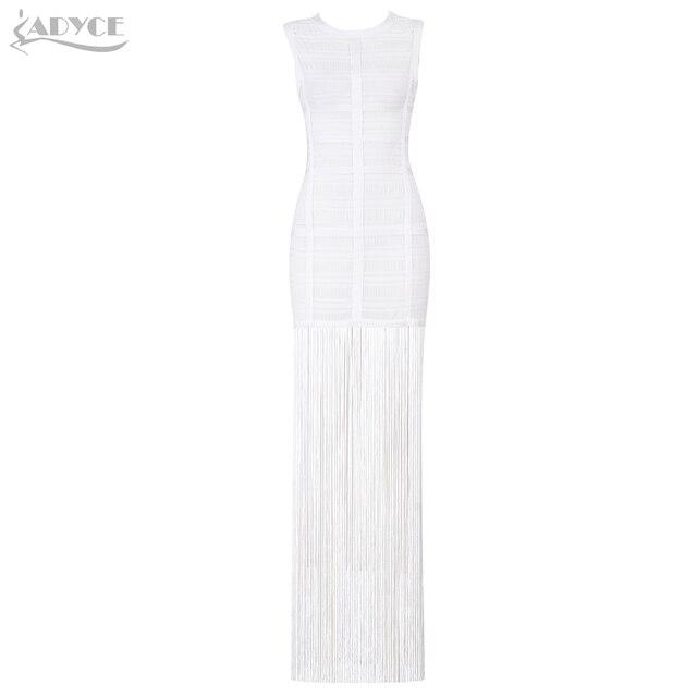 Adyce 2019 New Summer Women Bandage Dress Vestidos Sexy Maxi Celebrity Evening Party Dress White Tank Tassels Fringe Club Dress 1