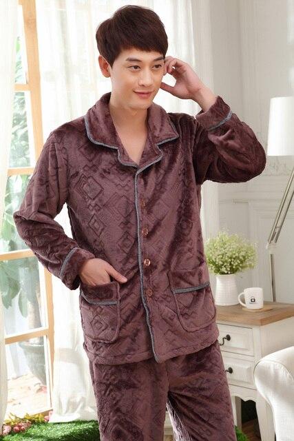 Male Nightwear Real Pyjama 2017 Flannel New Men Pajama Sets Pijamas Turn-Down Collar Sleepwear Full Sleeve Nighty