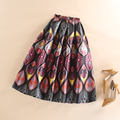 Pleated Vintage High Waist Flared Tutu Skater Skirts 73CM Women Mid-Calf Facial Makeup Printed Skirts Plus Size Saias Femininas