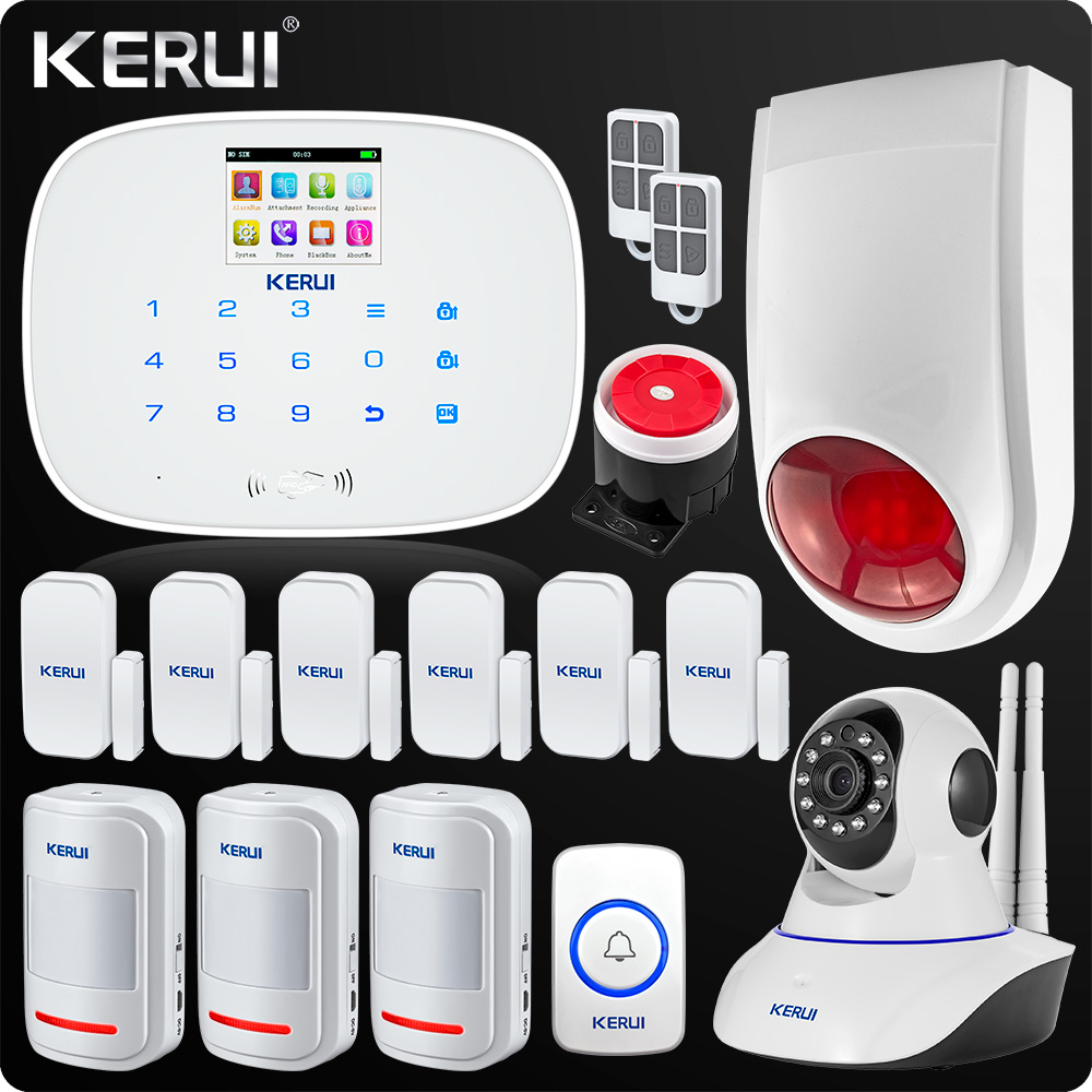 KERUI 2018 Newest Arrival GSM Wireless Home Security Alarm System Wifi IP Camera SMS RFID Detector Kit Wireless alarm system new design wireless rfid key tag sms notice for home gsm alarm system s3b 433mhz