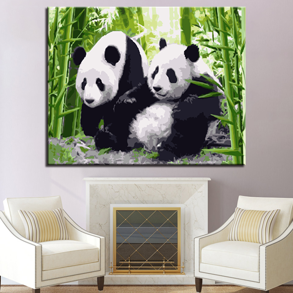 Bamboo Forest Cute Panda Picture By Numbers DIY Animal Painting Kits Hand painted On Linen Canvas Home Decorative Unique Gift in Painting Calligraphy from Home Garden