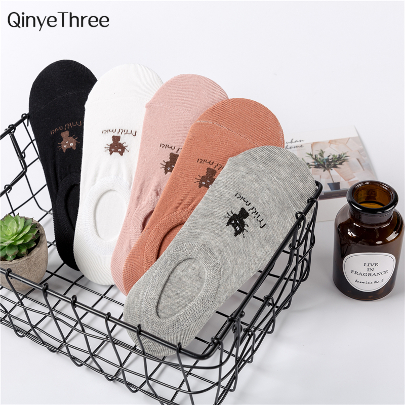 CAT Warm comfortable cotton bamboo fiber girl women's   socks   ankle low female invisible color girl boy hosier 1pair=2pcs