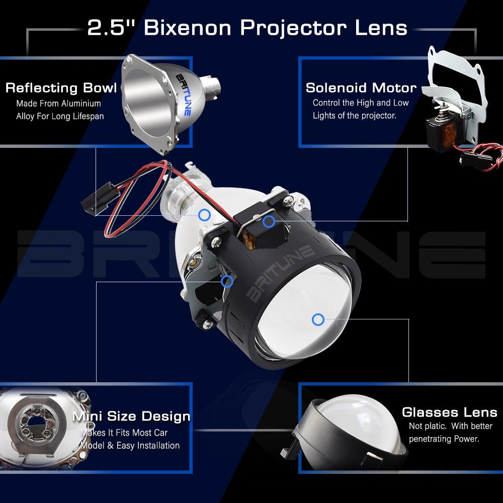 Special U Shape LED Angel Devil Eyes 2.5'' Mini Bi-xenon Projector Lens Daytime Running Lights For H4 H7 Cars Auto Headlight DIY